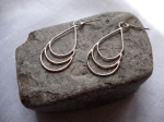 Triple Teardrop Silver Earrings