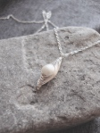 Silver Wrapped Herringbone & Glass Pearl Necklace