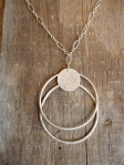Double Hoop Silver Necklace