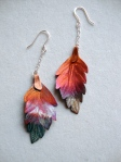 Heat Patina Copper Leaf Earrings