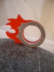 Red Plexi & Silver Fire Ring