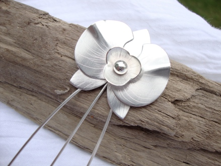 Silver Orchid Hair Stick
